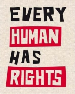 The words Every Human Has Rights written on a pale background.